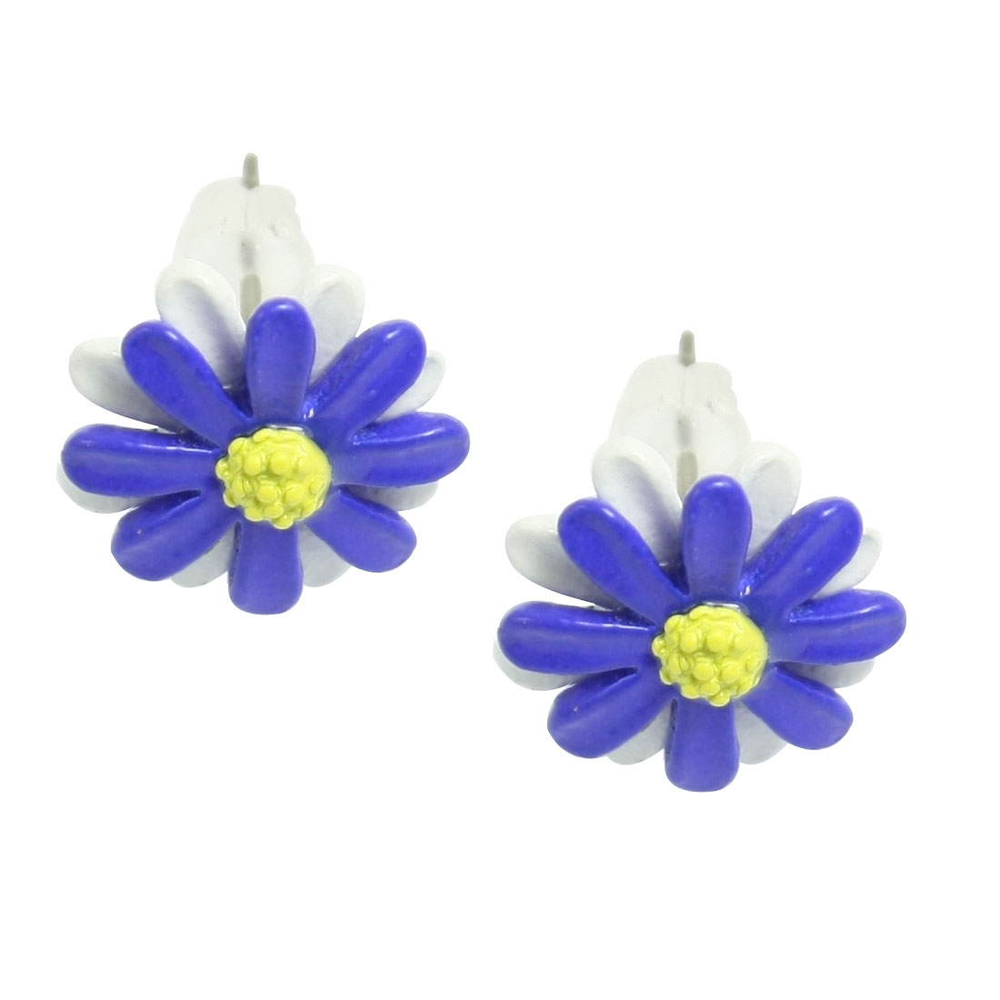 Blue White Metal Mini Flower Shape Studs Earrings for Lady