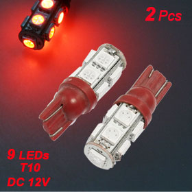 2 Pcs T10 Wedge 168 194 2825 Red SMD 9 LED Indicator Dashboard Light Bulbs