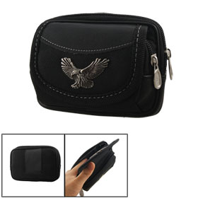 Men Belt Loop Magnetic Zipper Closure 2 Compartments Black Waist Bag
