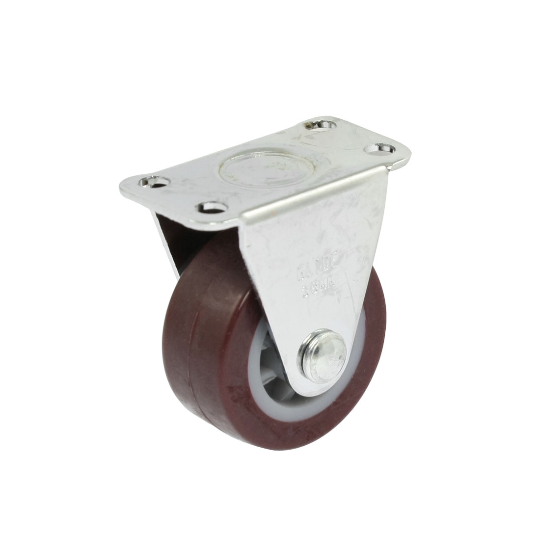 "Trolley Silver Tone Plate 1.4"" Single Burgundy White Wheel Rigid Cast"
