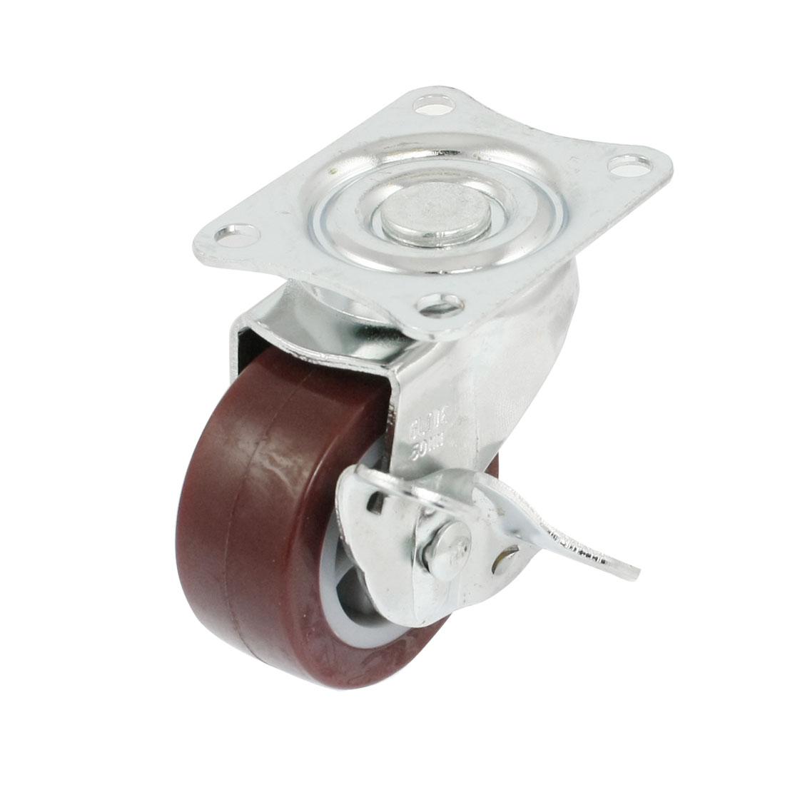 """Trolley Silver Tone Plate 1.9"""" Single Burgundy Wheel Rigid Cast"""
