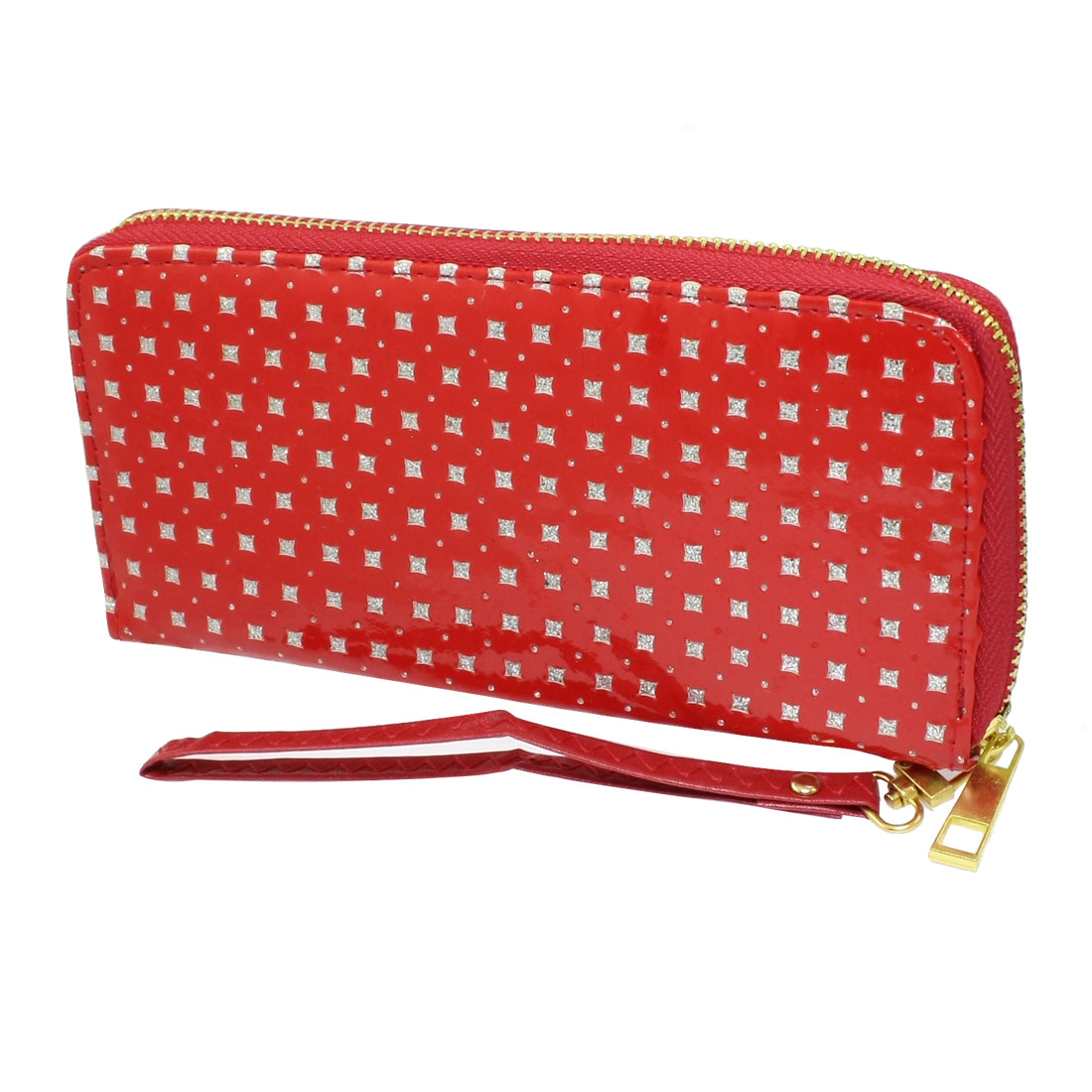 Women Glittery Powder Detail 3 Compartments Red Faux Leather Zippered Purse