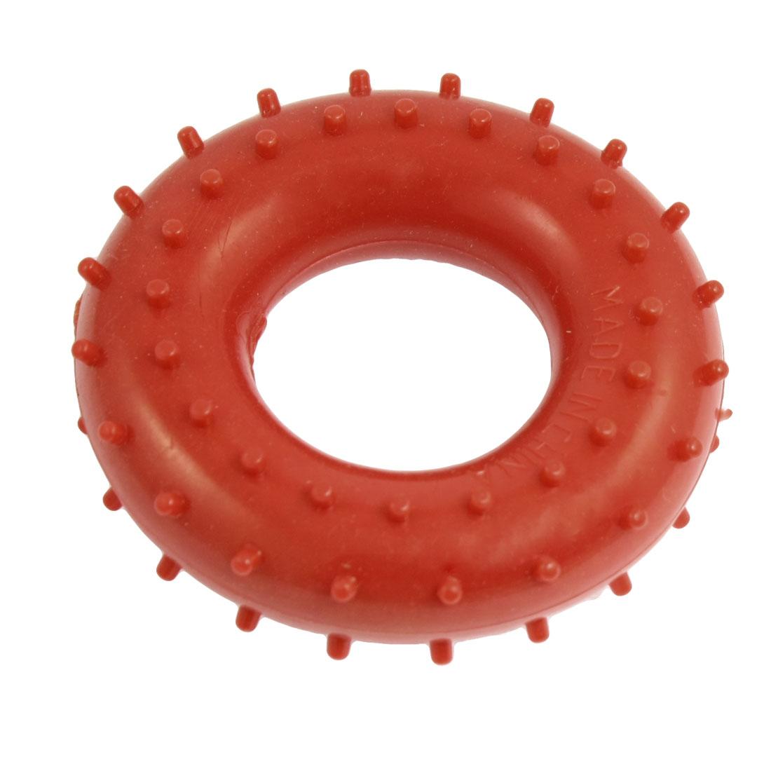 Round Nonslip Rubber Stress Relief Massage Hand Gripper Ring Red