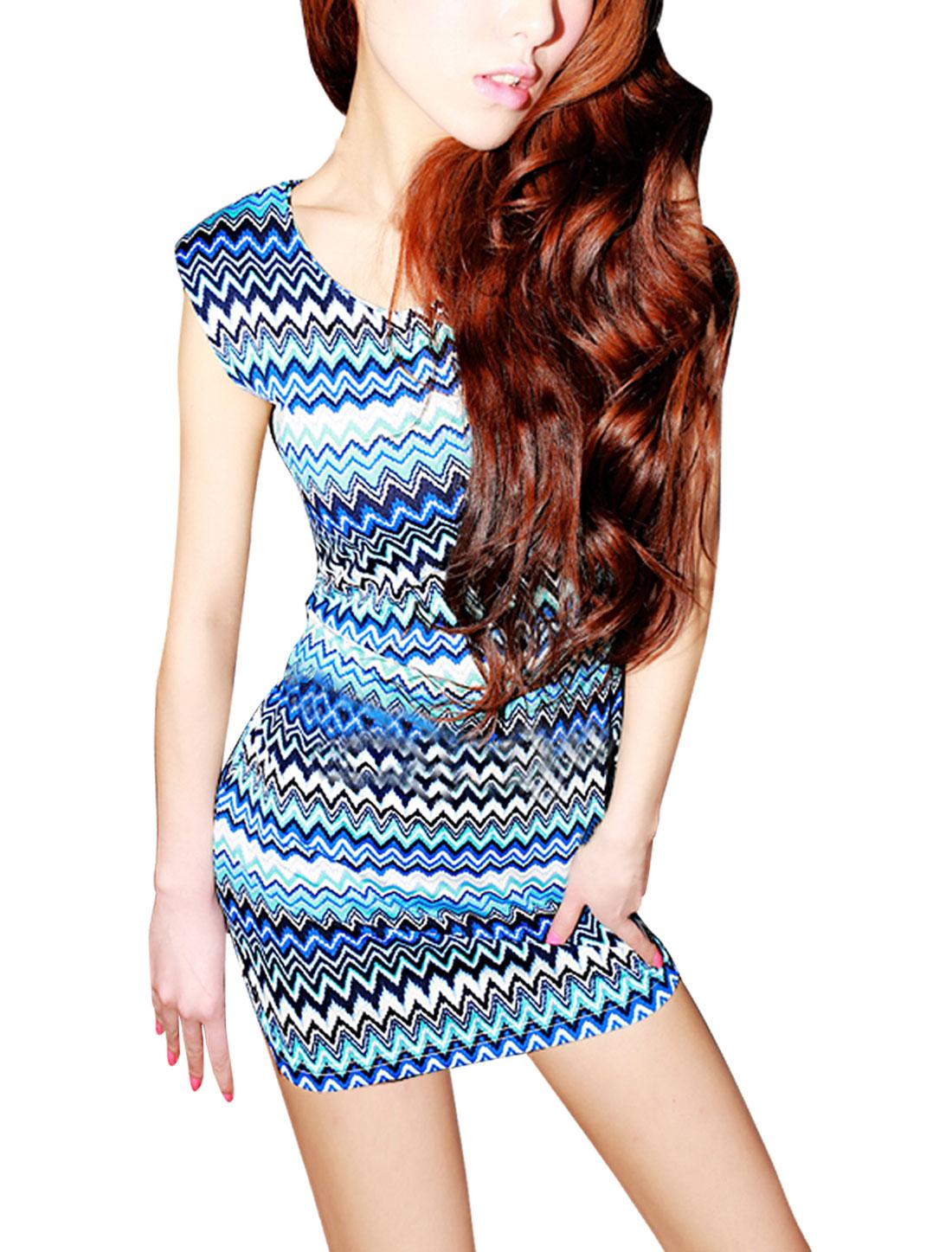 Lady Aqua Blue Scoop Neck Sleeveless Padded Shoulder Wave Print Mini Dress XS