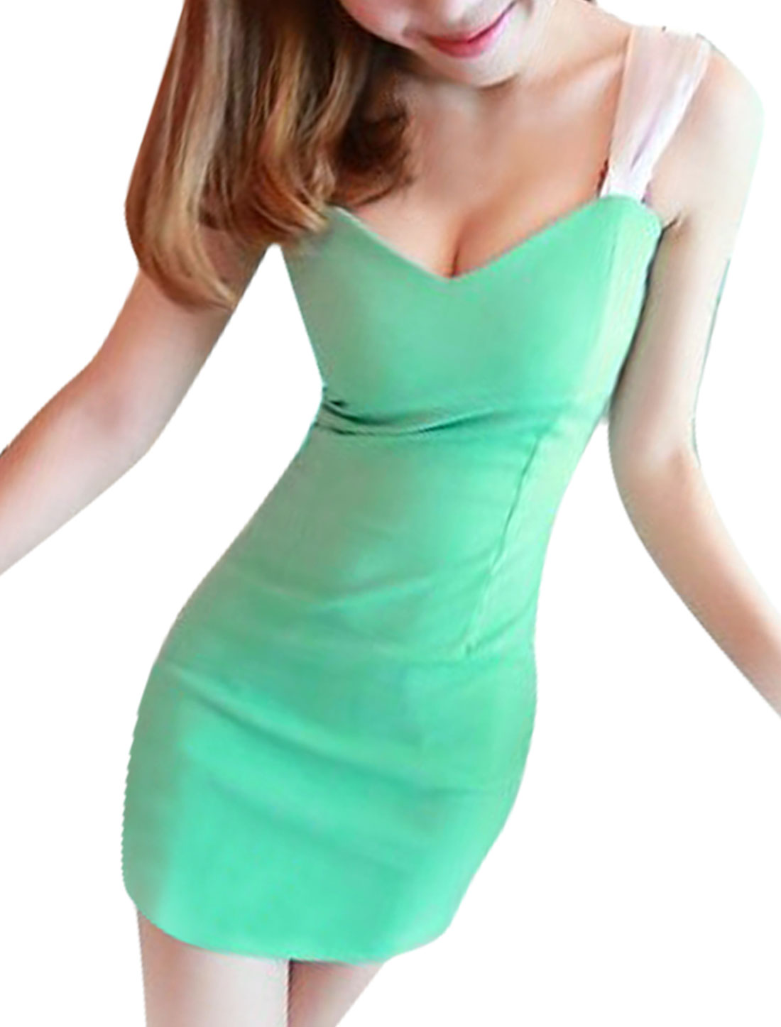 Lady Green Sweetheart Neckline Sleeveless Hidden Side Zipper Backless Mini Dress XS