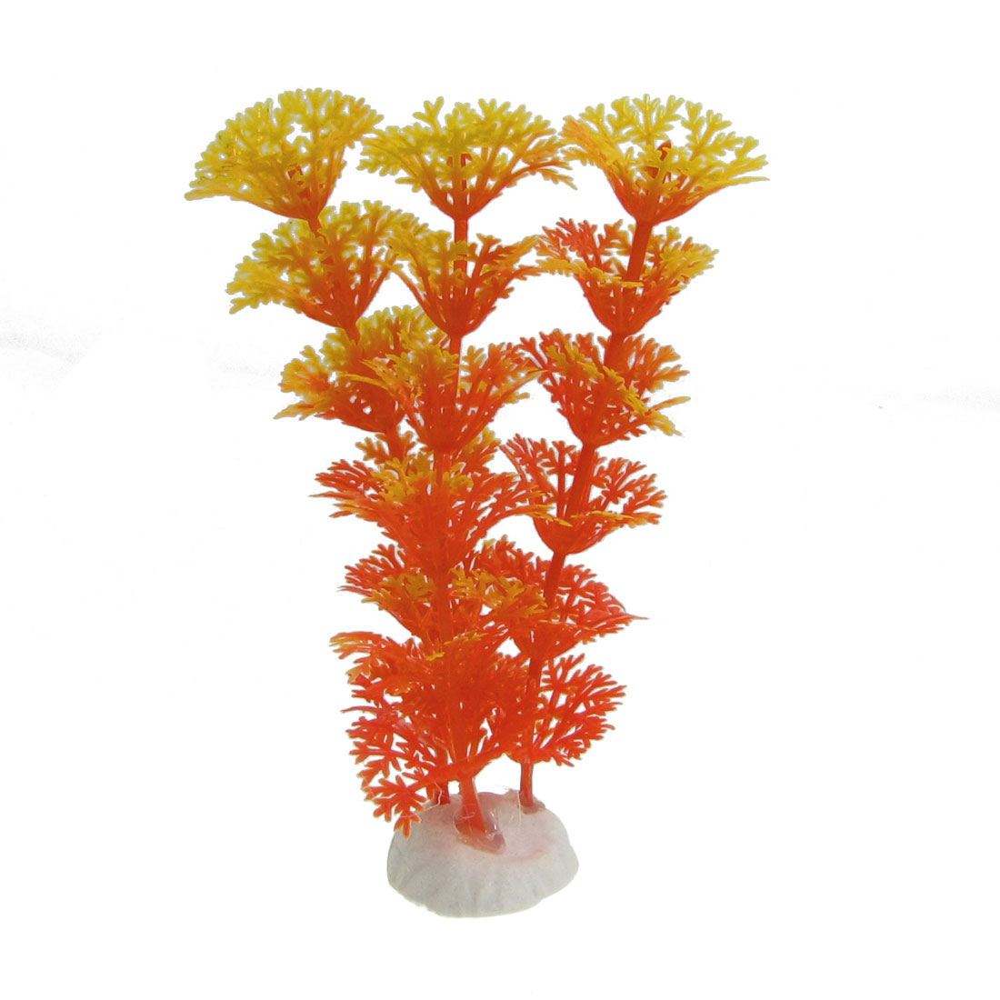 "Aquarium Tank Silicone Artificial Plant Decor 3.9"" Height Orange"
