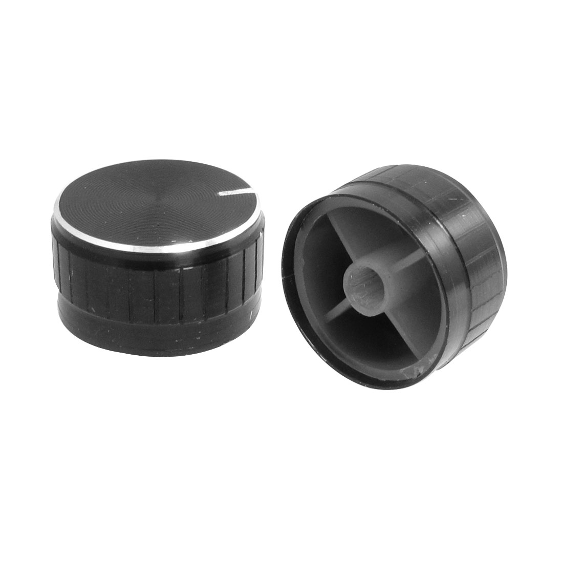 "2 Pcs 1.18"" x 0.67"" Potentiometer Control Volume Knob Cap Black"