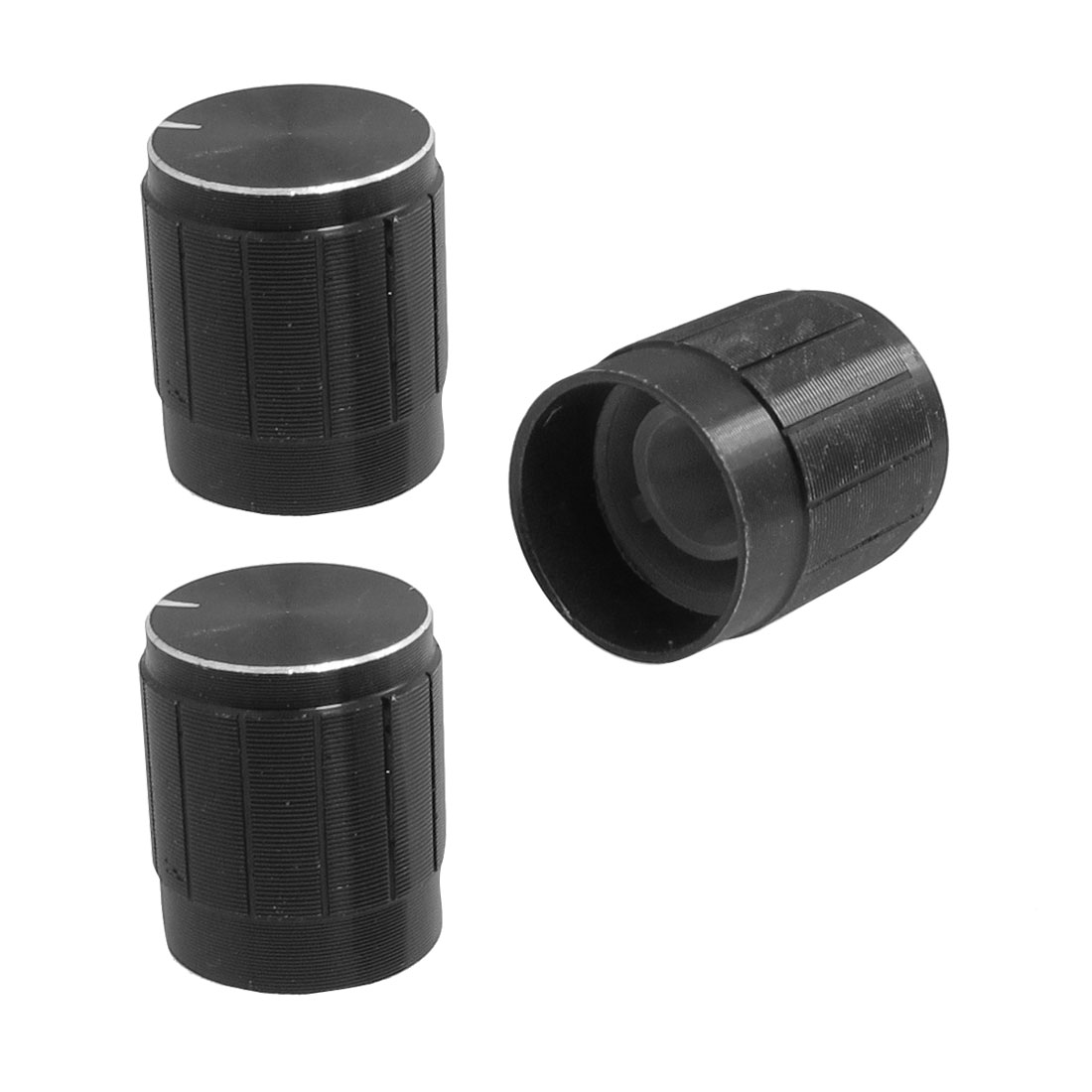 "3 Pcs 0.59"" x 0.67"" Potentiometer Control Volume Knob Cap Black"