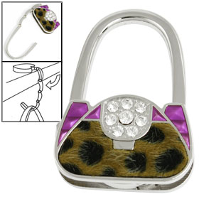 Women Rhinestone Accent Leopard Print Hand Purse Handbag Hook Hanger Purple