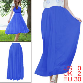 Ladies Elastic Waistband Soft Lining Multi Wearing Sapphire Blue Skirt XS