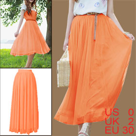 Women Double Layer Mesh Patchwork Lining Multi Wearing Orange Skirt XS