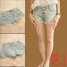 Woman Pockets Lace Scalloped Hem Light Blue Denim Short Shorts XS