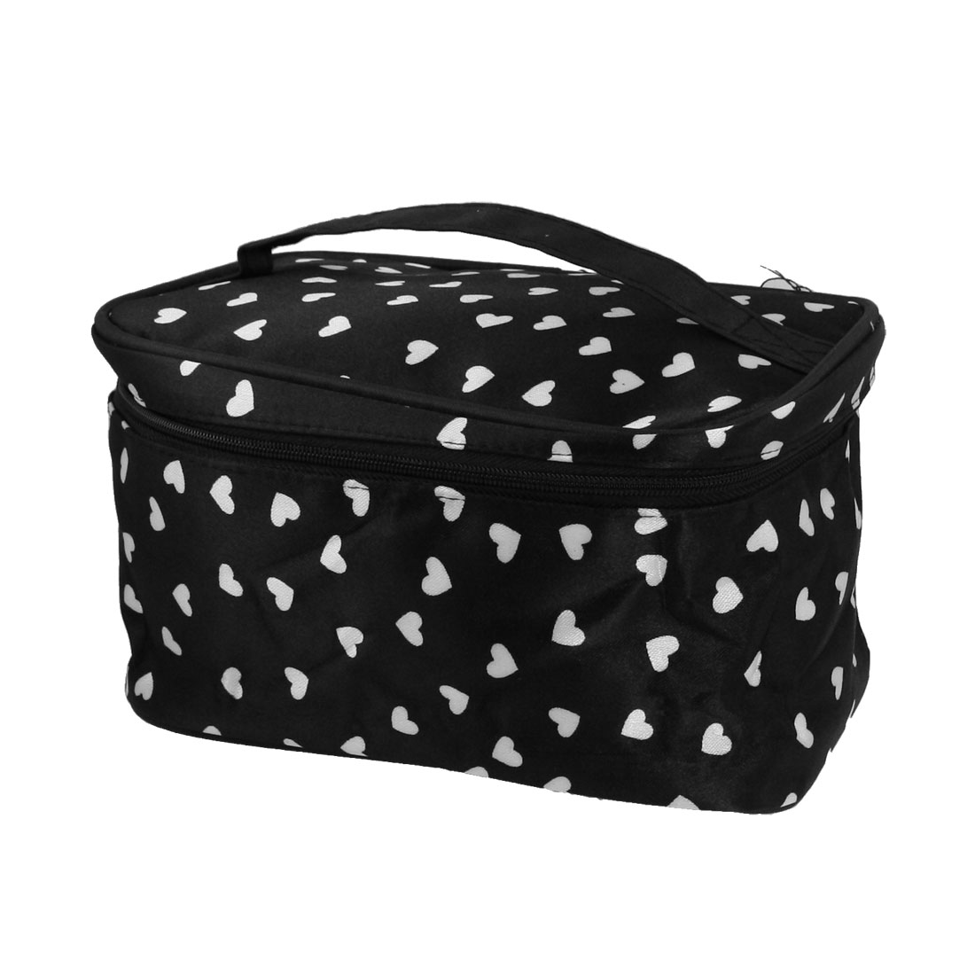 Woman Heart Pattern Zippered Makeup Cosmetic Hand Bag Black