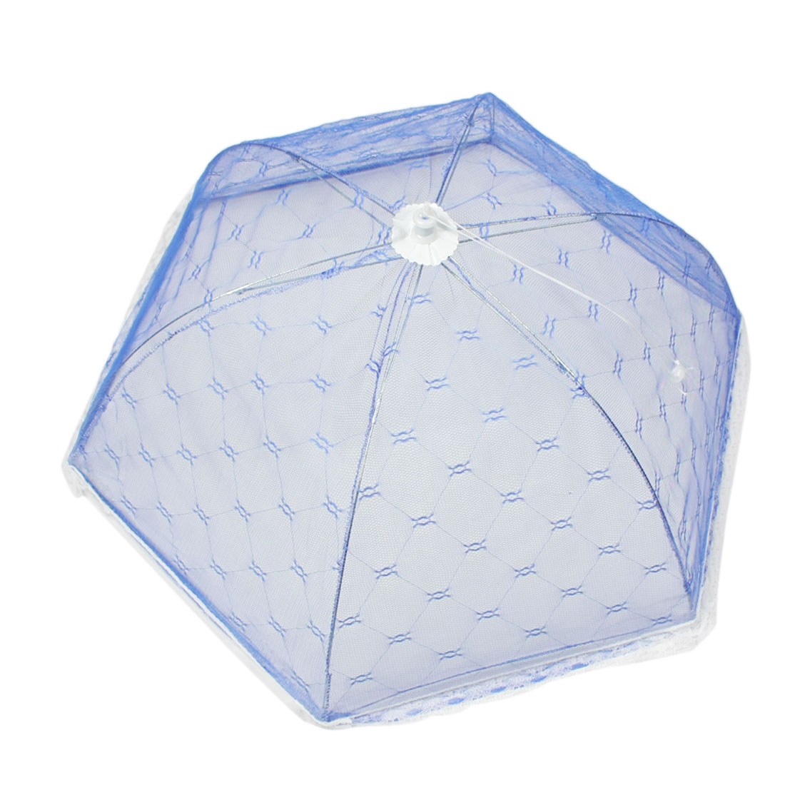 Camping Picnic Rhombus Pattern Collapsible Food Cover Umbrella Blue