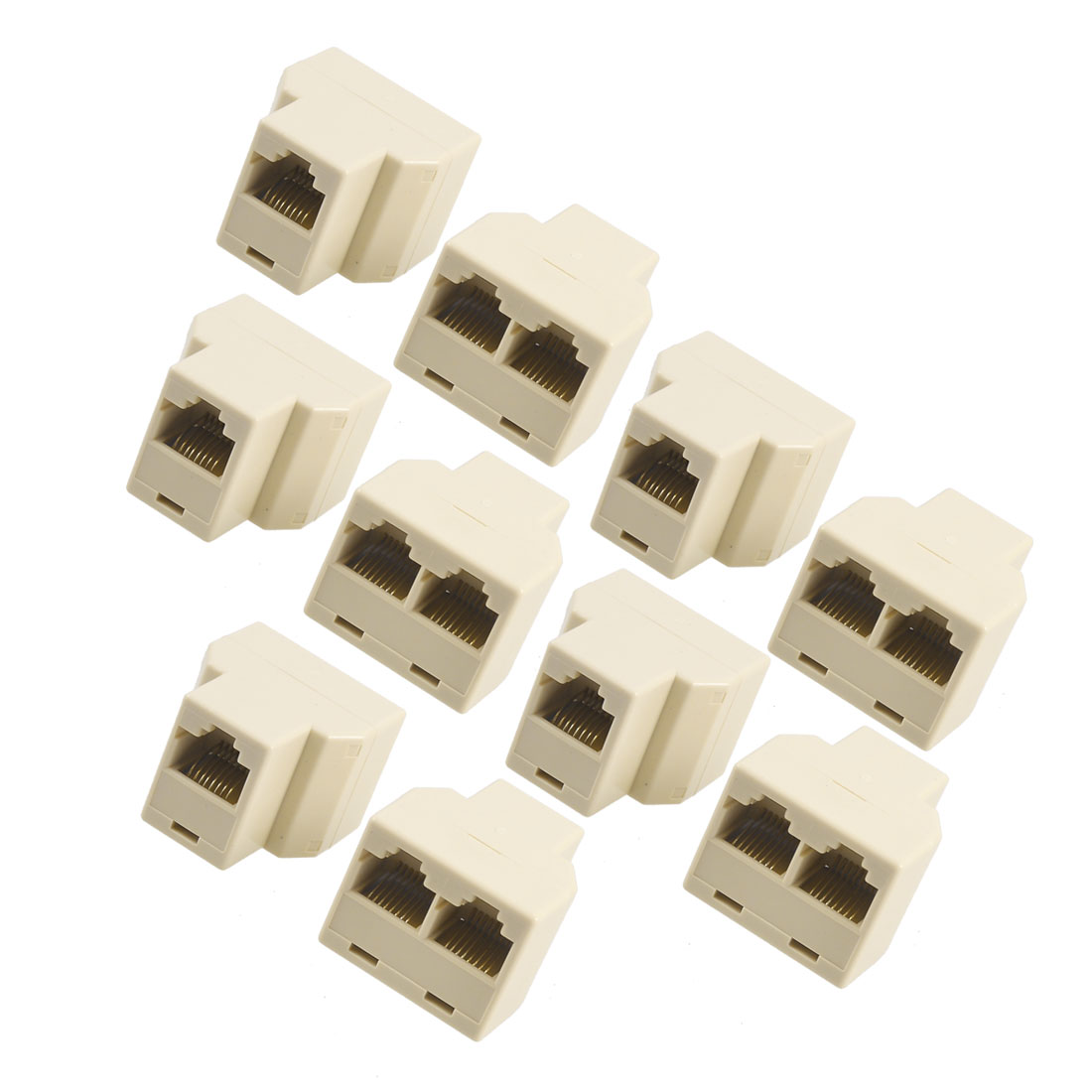 RJ45 3 Way LAN Network Ethernet Splitter Extender Connector Beige 10 Pcs