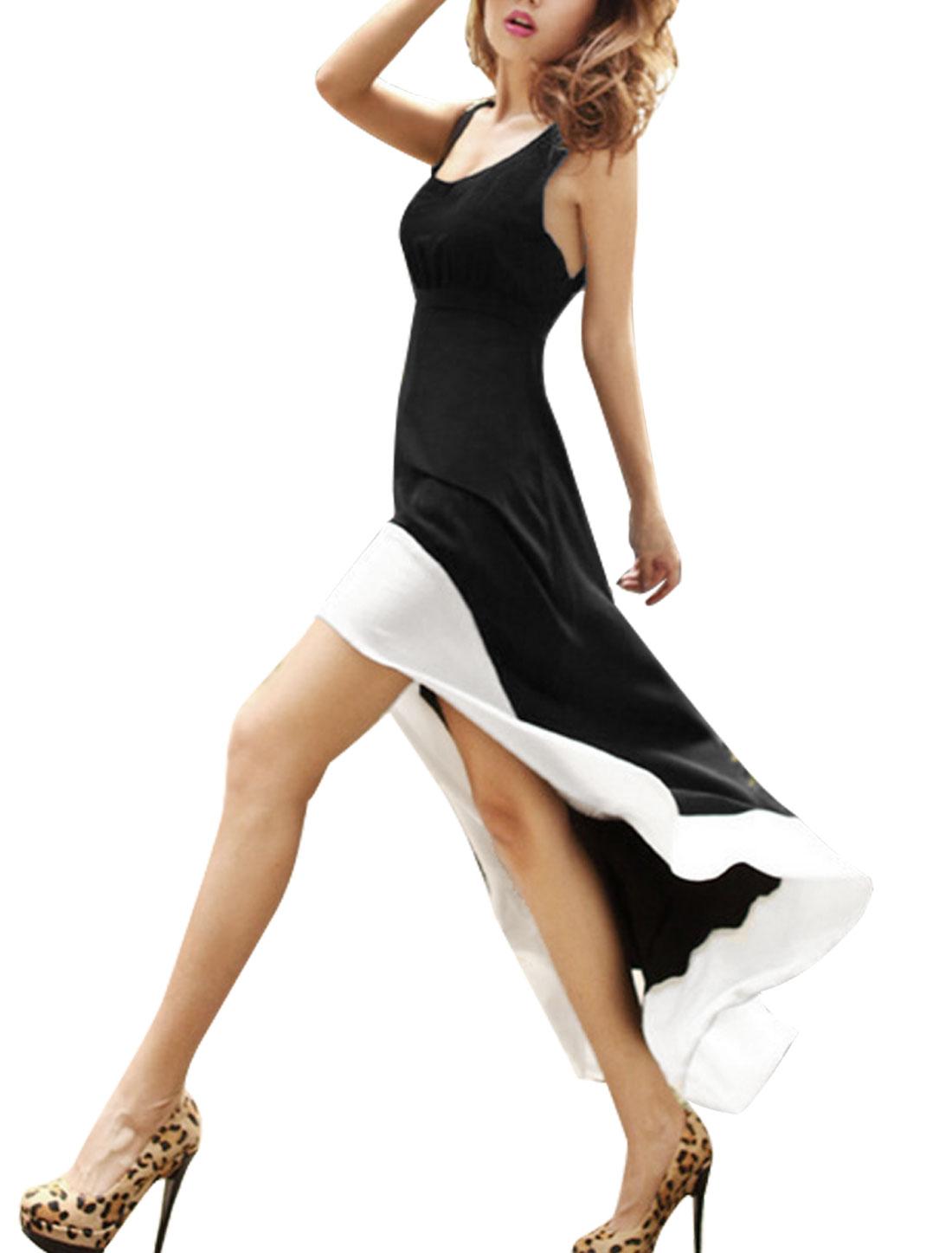Woman Sleeveless U Neck Low-high Coattails Hem Dress Black White S