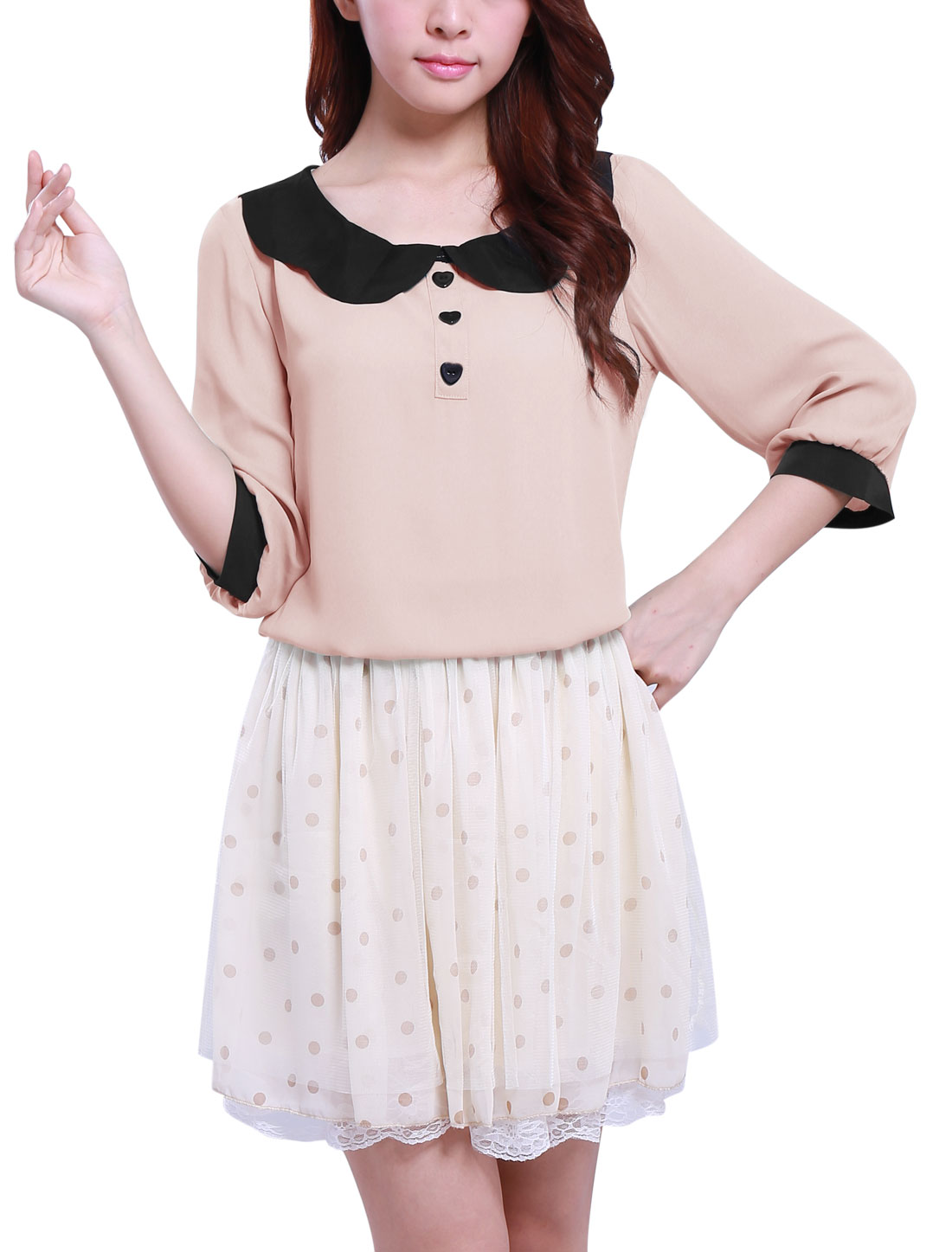 Woman Peter Pan Collar 3/4 Sleeve Pullover Blouse Tops Pink S