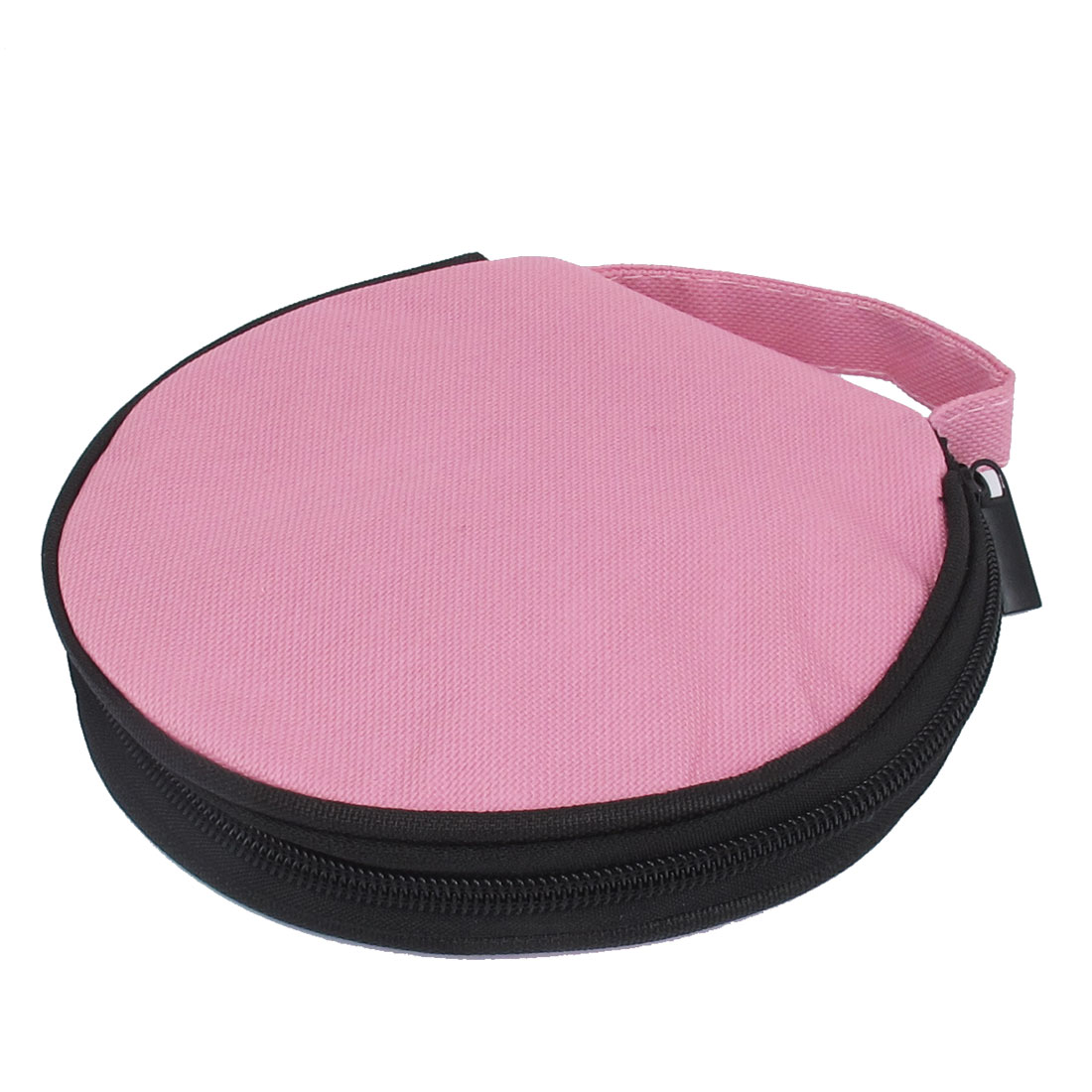Pink Nylon 20 Pcs Capacity CD DVD Holder Round Wallet Case