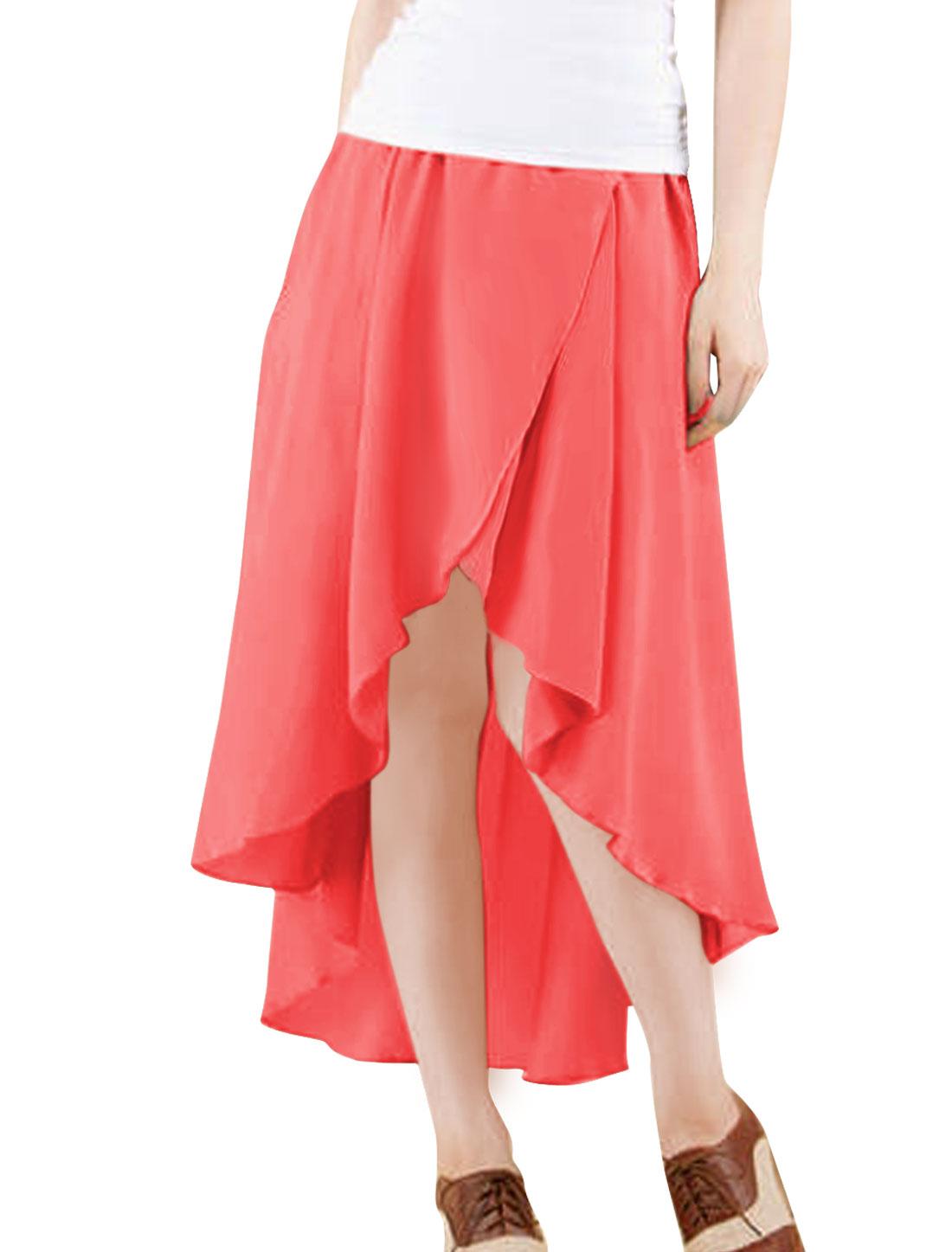 Woman Elastic Waist Low-high Hem Midi Skirt Solid Watermelon Red S