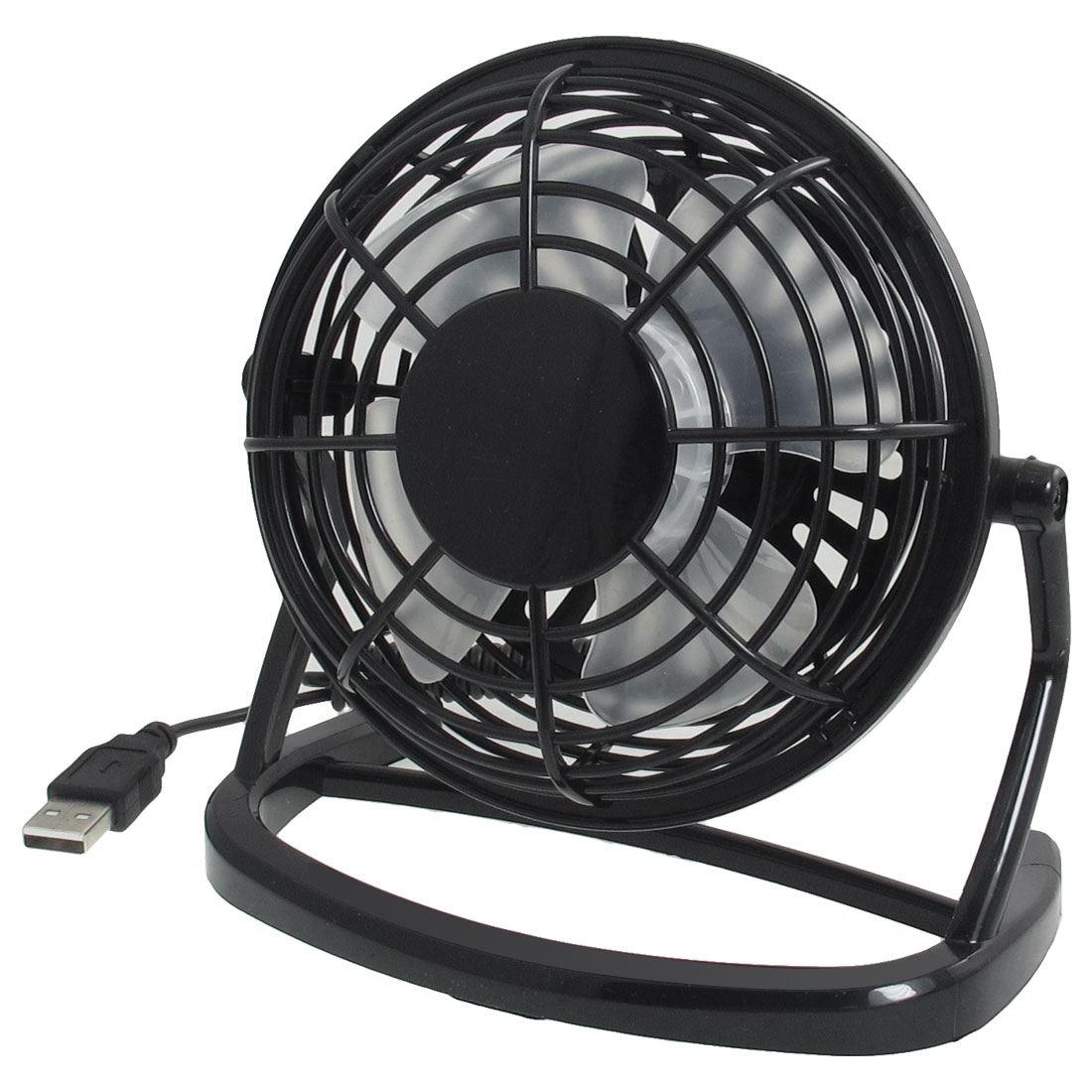 Adjustable Angle Black Plastic USB Mini Desk Fan for Notebook
