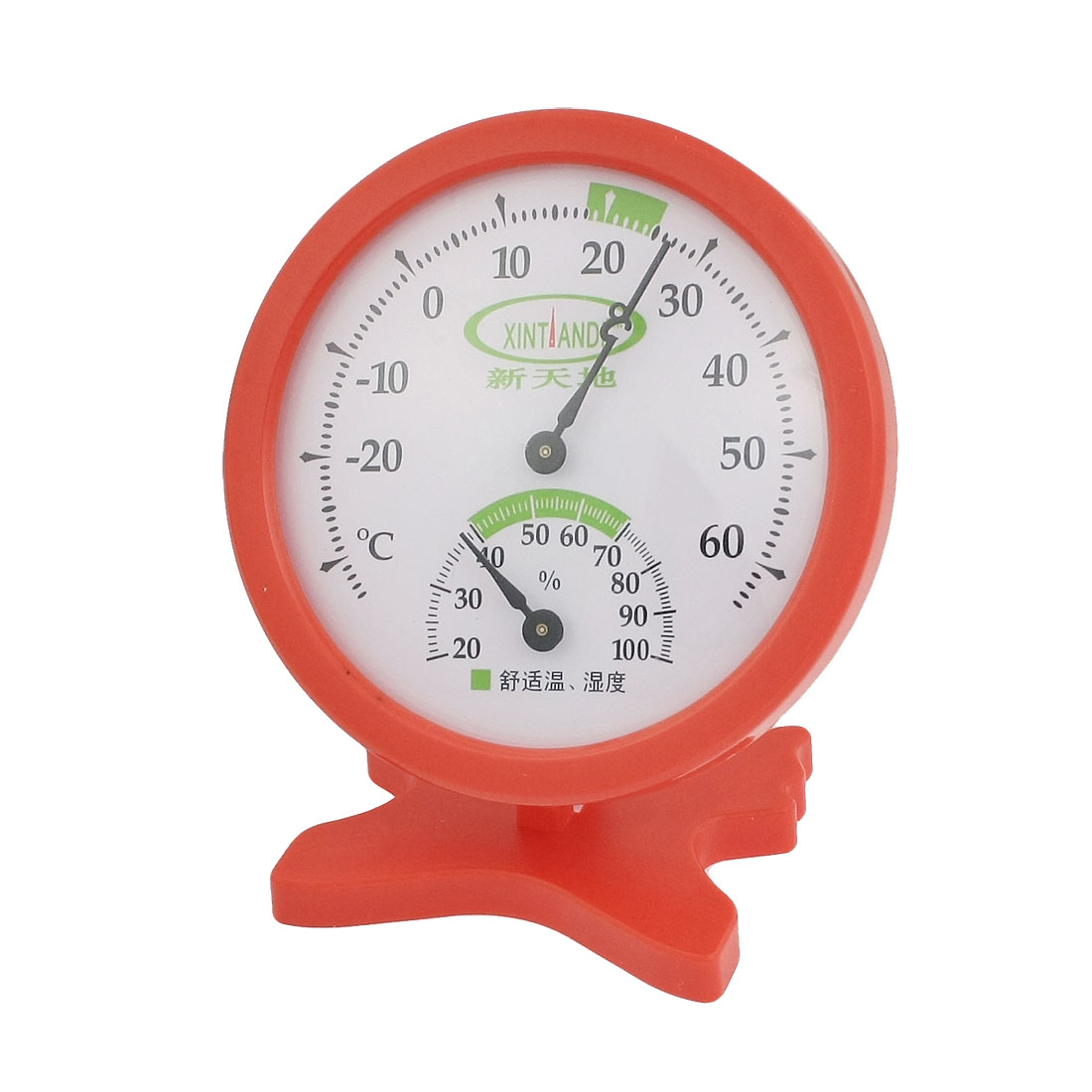 Indoor Red Plastic Round Dial Thermometer Hygrometer Measure