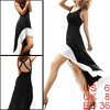 Woman Sleeveless U Neck Low-high Coattails Hem Dress Black White S