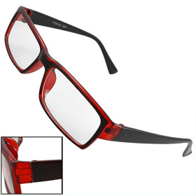 Unisex Black Burgundy Frame Rectanlge Clear Lens Eyeglasses