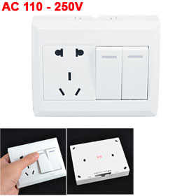 Dual Switch AC 10-16A 110-250V 2 Pin US EU Outlet AU Socket Wall Plate
