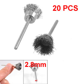 20 Pcs Bowl Shape Gray Steel Wire Polishing Brush Wheel 15mm