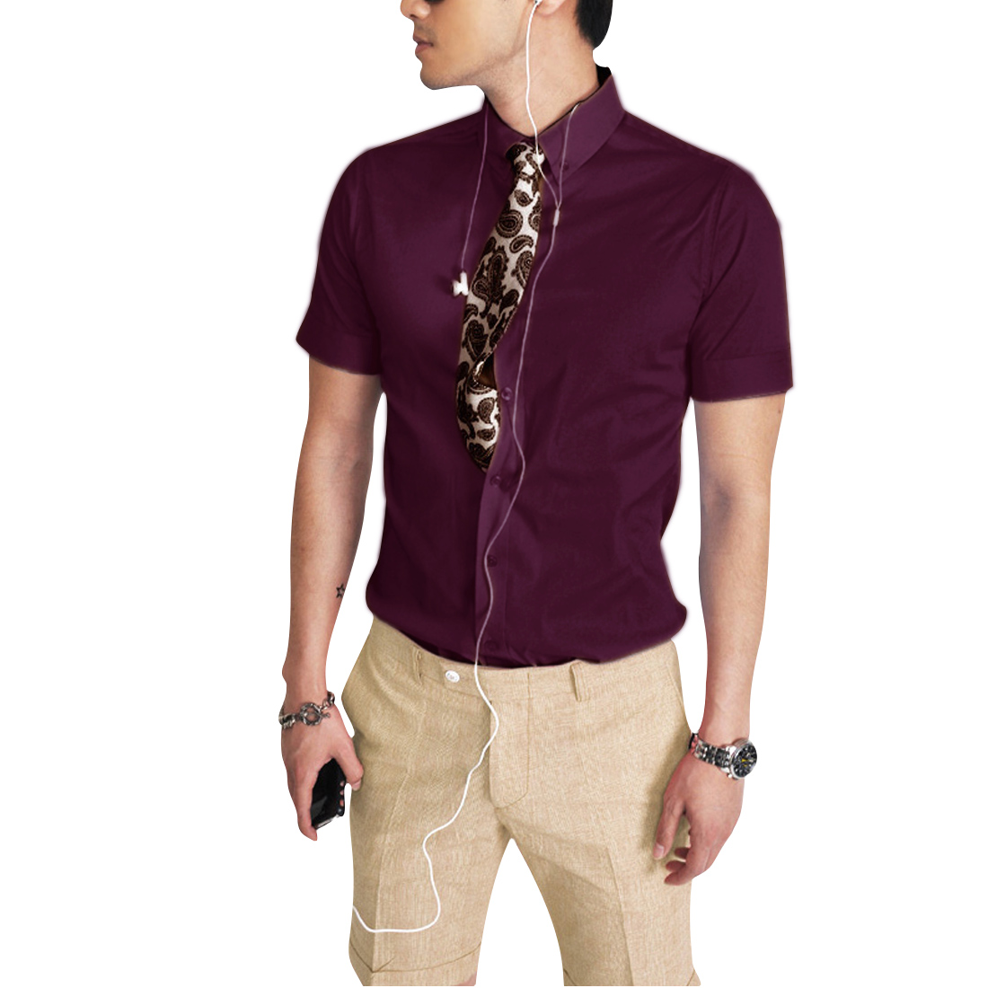 Mens NEW Fashion Wine Red Casual Short Sleeve Summer Korea Shirt Tops S
