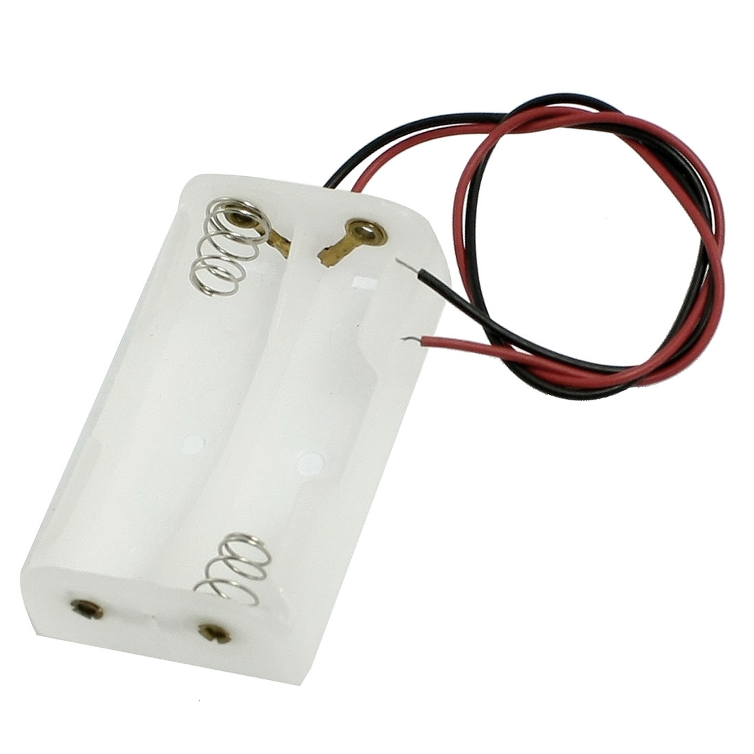 White Plastic 2 x 1.5V AA Battery Charging Leads Wired Cell Case