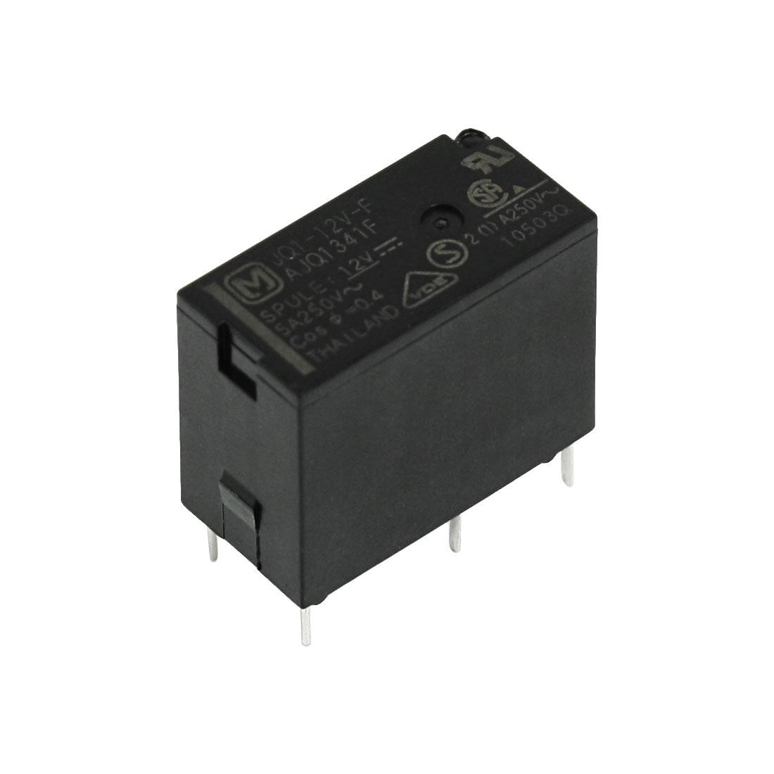 Coil Voltage DC 12V 5A Mini Power Relay JQ1-12V-F Black