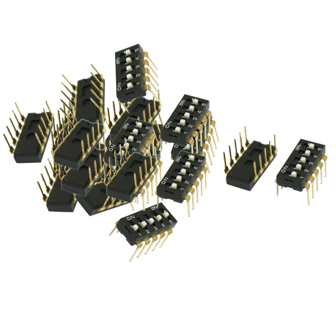 33 Pcs 2.54mm Pitch 5 Position Slide Style SMD Switches Black
