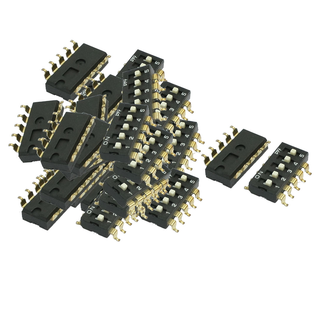 33 Pcs 2.54mm Pitch 5 Position Slide Type DIP Switches Black