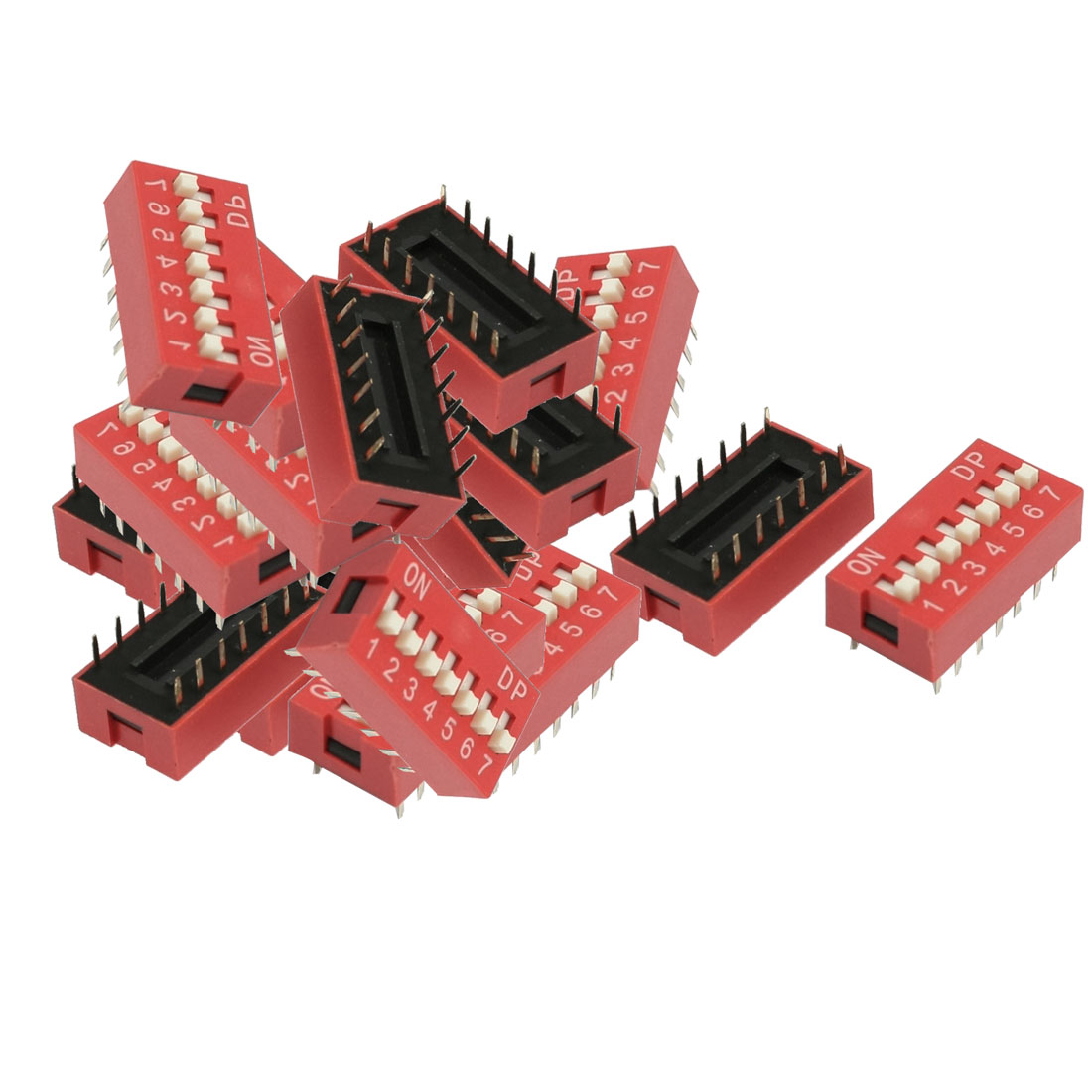 24 Pcs 2.54mm Pitch 7 Position Slide Style DIP Switches Red