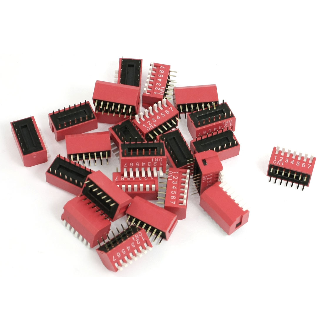 24 Pcs 2.54mm Pitch 7 Positions Side Slide Style DIP Switches Red