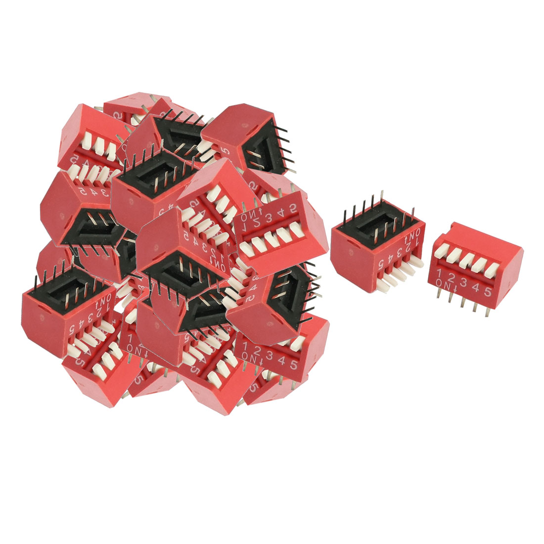 33 Pcs 2.54mm Pitch 5 Position Slide Style DIP Switches Red