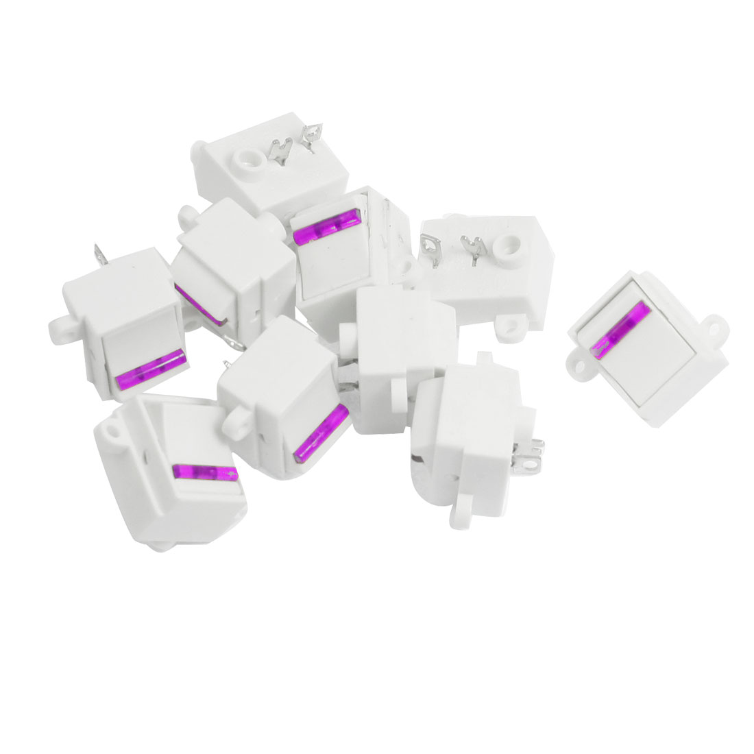 10 Pcs Purple White 125V/13A 250V/10A SPST ON OFF Rocker Switches