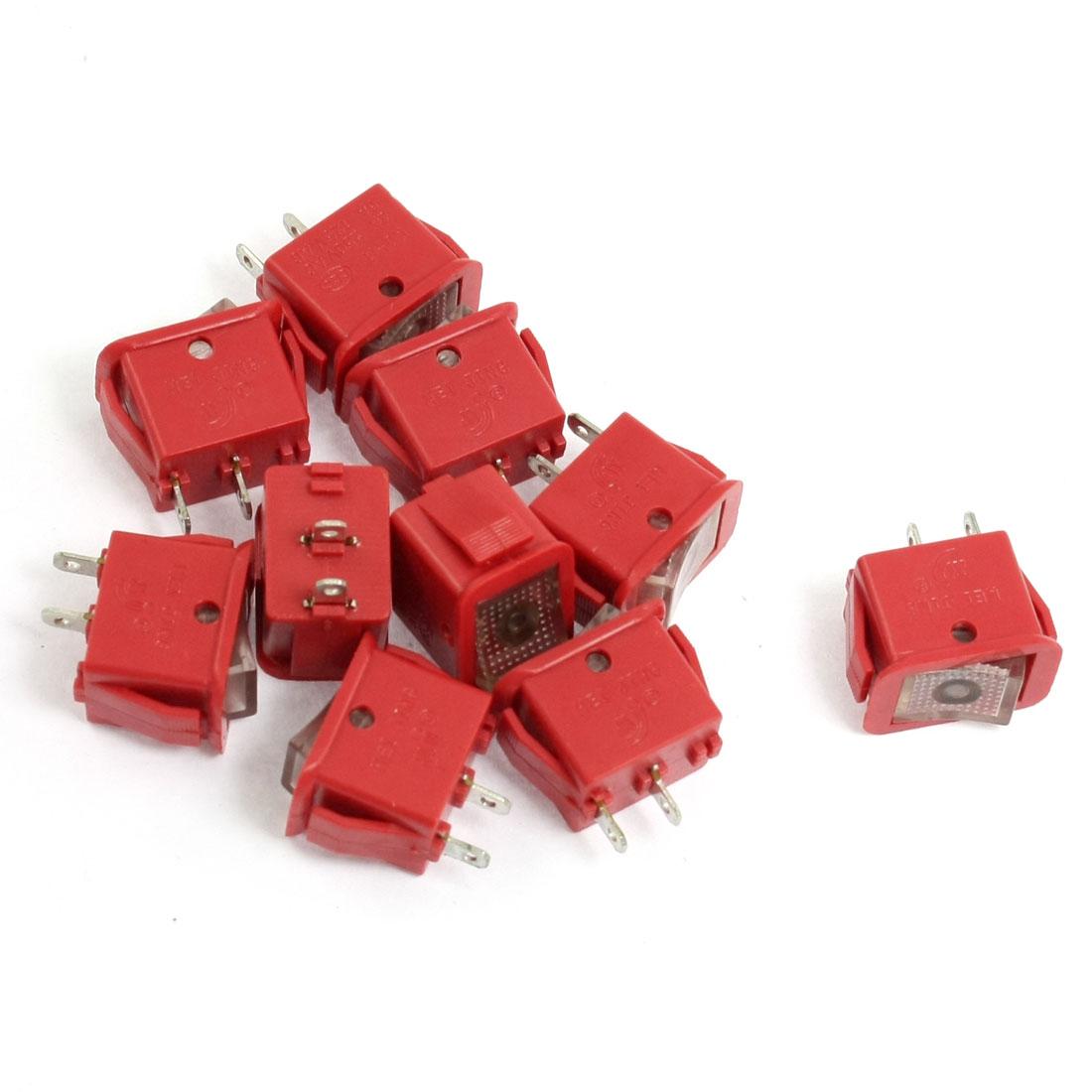 10 Pcs Red 125V/6A 250V/3A SPST ON OFF Rocker Switches