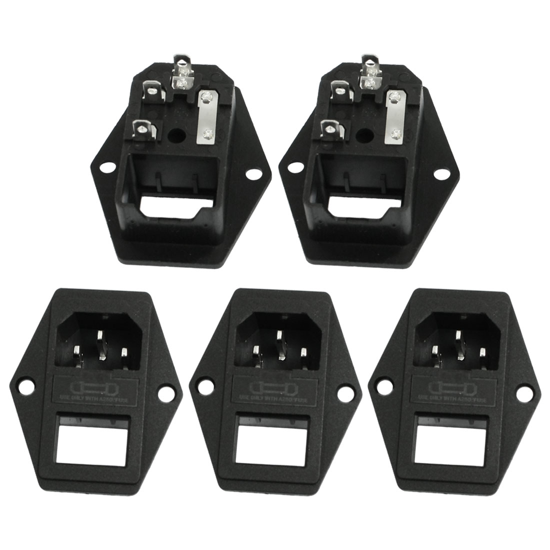 5 Pcs AC 250V 15A IEC 320 C14 3 Terminals Power Inlet Socket