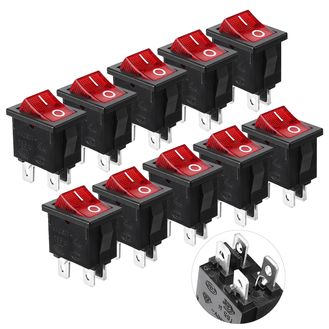 10 Pcs 125V/10A 250V/6A Red Indicator Light 4 Pin DPST ON OFF Rocker Boat Switch
