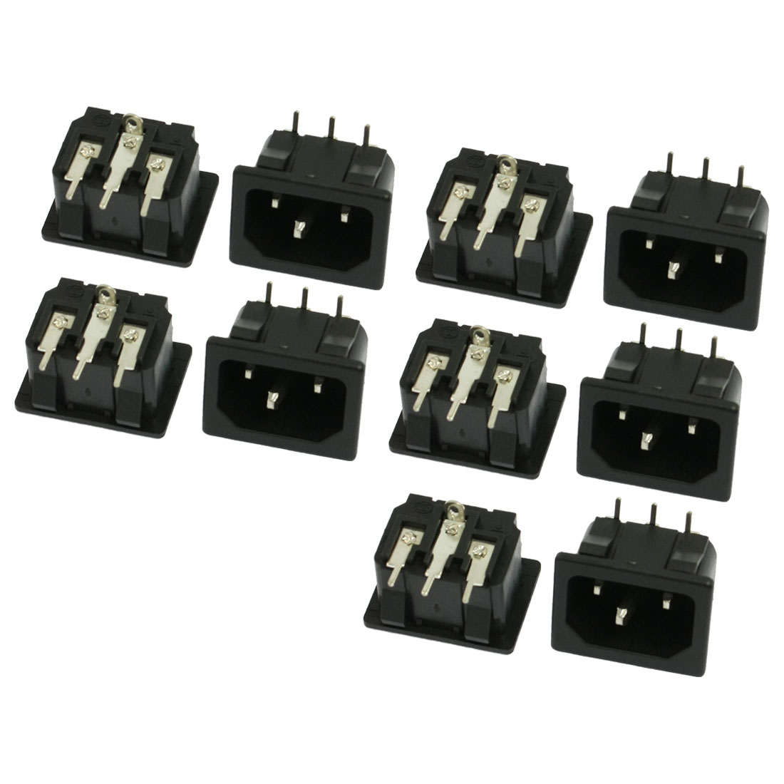 10 Pcs Black Bent Terminal IEC320 C14 Inlet Power Plug Socket AC 250V 10A