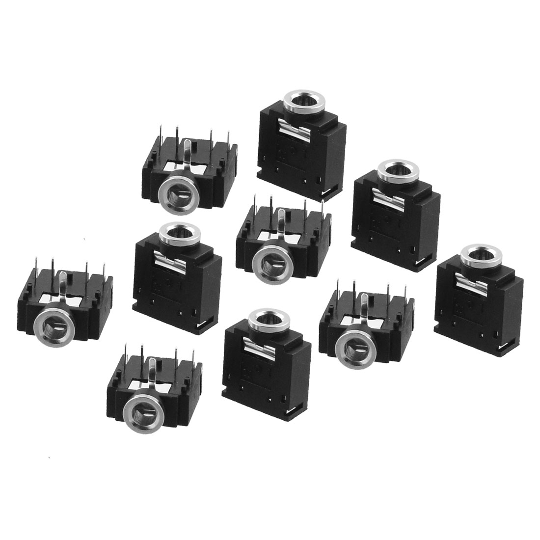 10 x 5pin Right Angle DIP PCB Mount 3.5mm Stereo Jacks Connectors