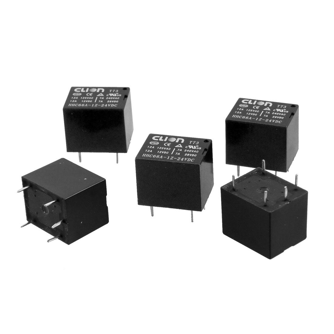 5 x DC 24V Coil 12A 125 AC/12V DC 5 Pins SPDT PCB Power Relay HHC66A-1Z(T73)