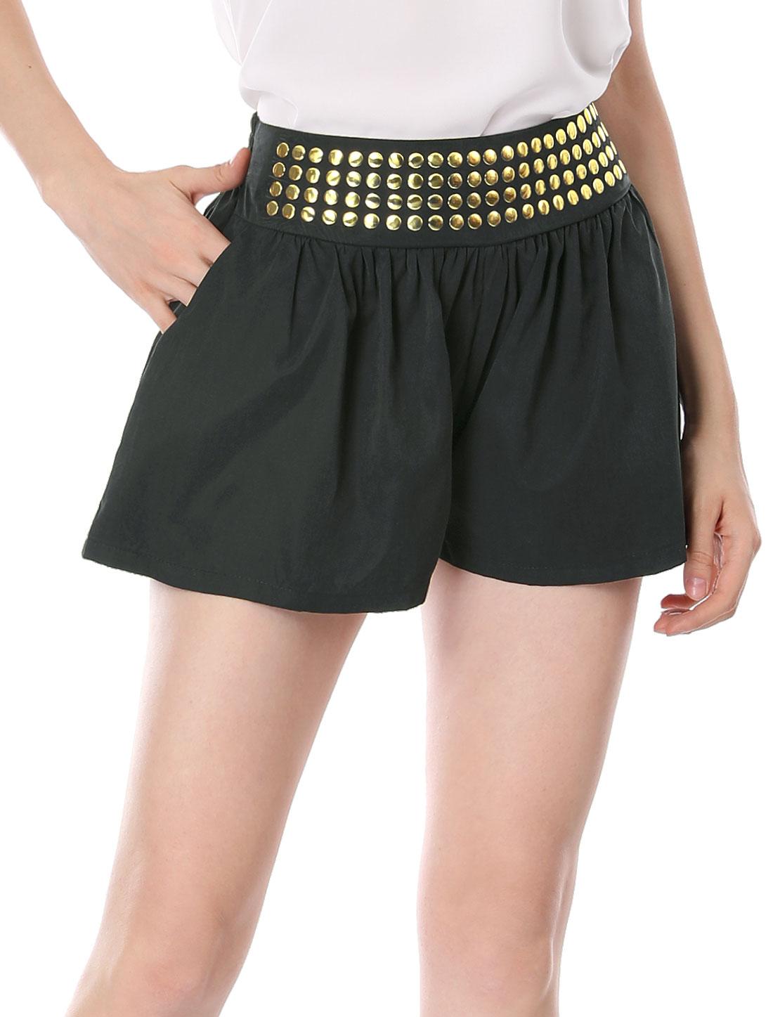 Woman Stud Accent Shirr Elastic Waist Split Skirt Shorts Black M