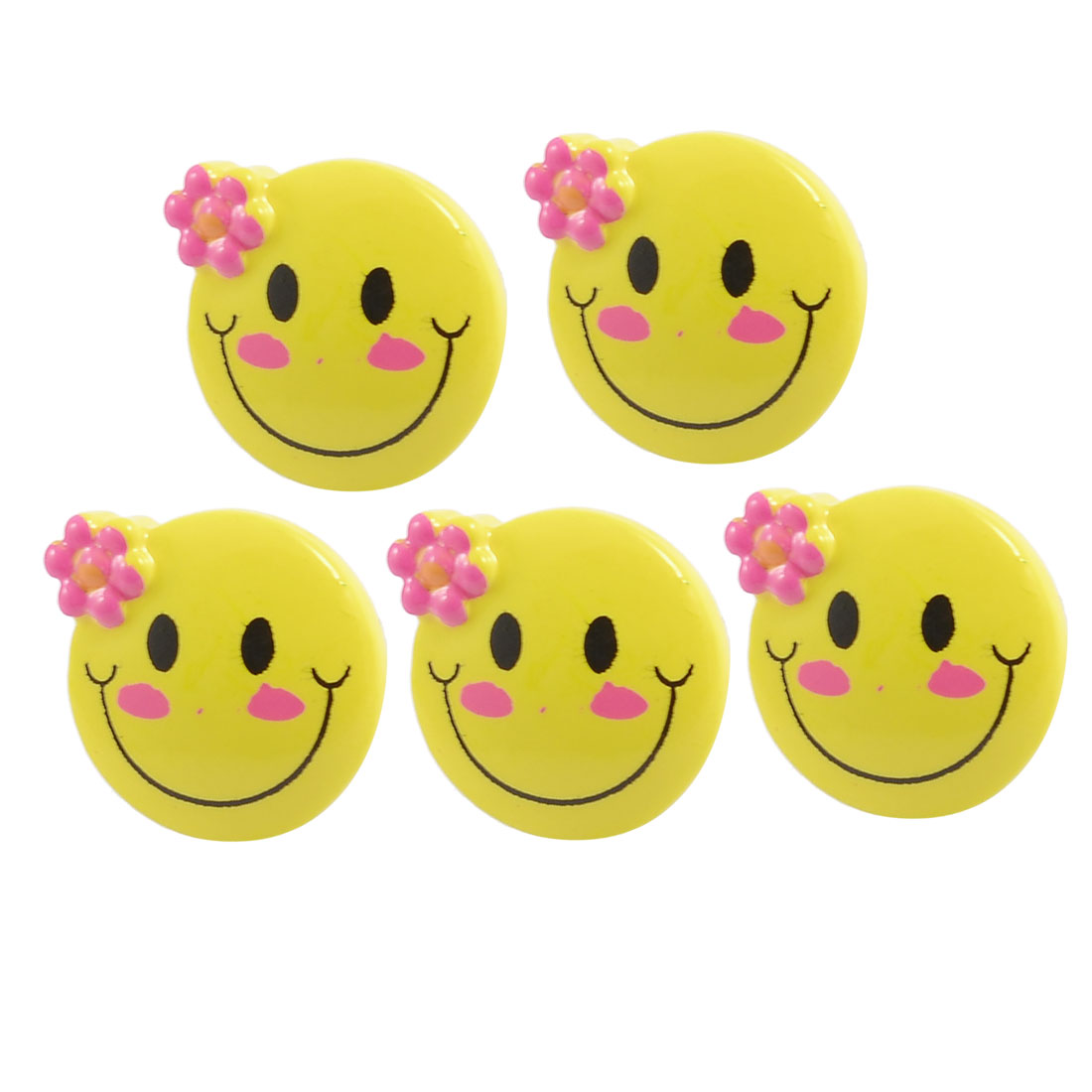 Smiling Face Decor Anti Dust 3.5mm Earphone Ear Cap Dock 5 Pcs for Mobile Phone