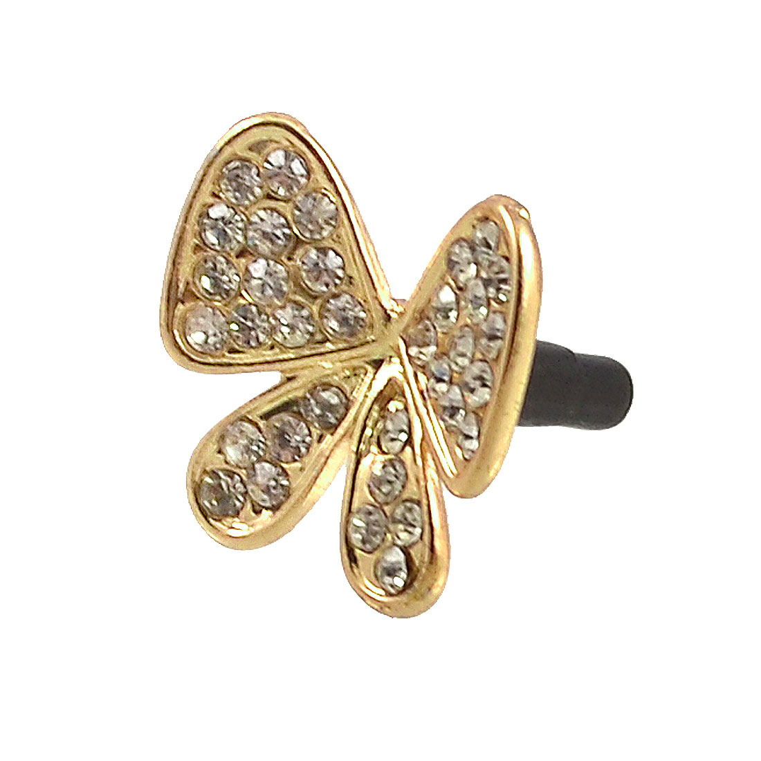 Rhinestone Decor Bowknot Accent 3.5mm Earphone Cell Phone Ear Cap Dock