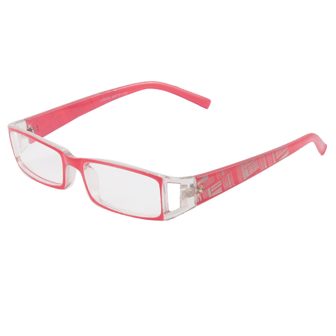 Men Women Pink Clear Plastic Frame Full Rims Clear Lens Plain Glasses