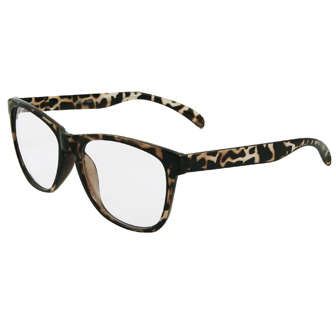 Black Leopard Pattern Plastic Full Frame Arms Women Men Plain Glasses