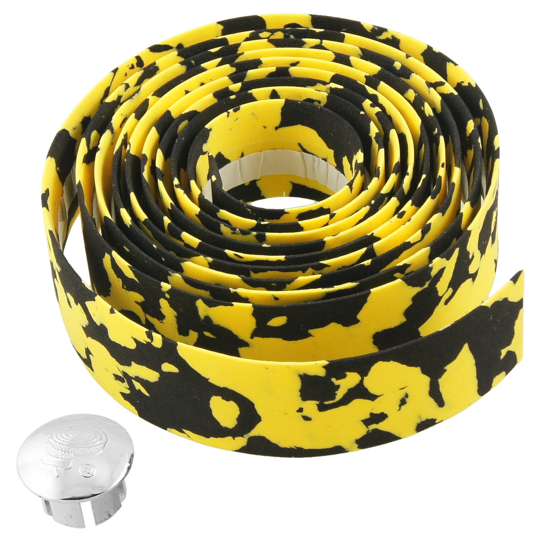 Yellow Black 195cm Bicycles Handlebar Tape Wrap w Bar Connector
